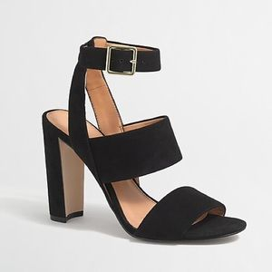 J Crew Factory Suede Strappy Heeled Sandals